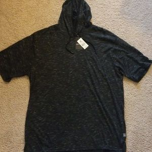 Short heathered black sleeve hoodie